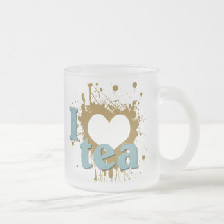 Grunge Art I Heart Love Tea Frosted Glass Mug