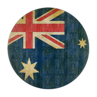 Grunge Australian Flag Glass Cutting Board