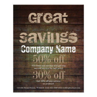 grunge barn wood contractor construction business 11.5 cm x 14 cm flyer