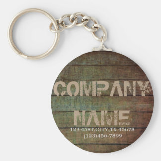 grunge barn wood contractor construction business basic round button key ring