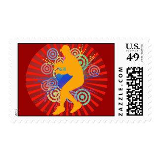 Grunge Baseball Player Postage Stamp