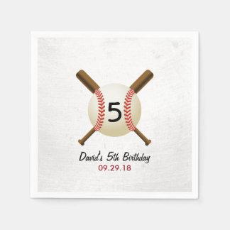 Grunge Baseball Themed Boy Birthday Paper Napkin