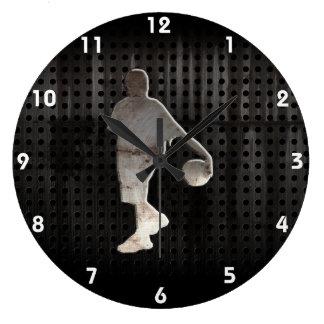 Grunge Basketball Large Clock