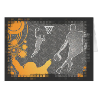Grunge Basketball Players and Fan Stationery Note Card