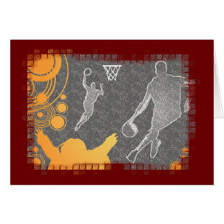 Grunge Basketball Players and Fan Greeting Card