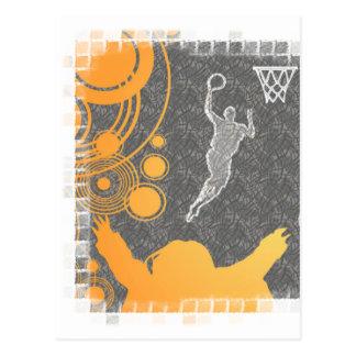 Grunge Basketball Players and Fan Postcard