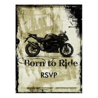 Grunge Biker Wedding RSVP Invitation with Photo Postcard