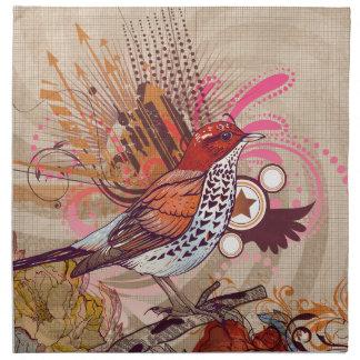 Grunge Bird I Cloth Napkins