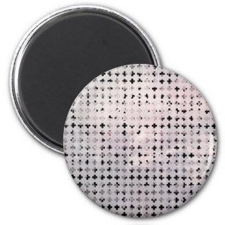 Grunge Black White Faded Cross Geometric Pattern Magnet