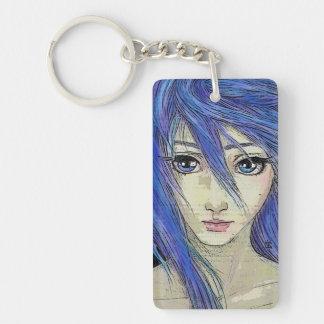 Grunge Blue Eyes Message Single-Sided Rectangular Acrylic Key Ring