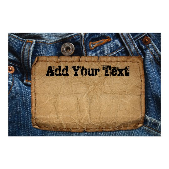 Grunge Blue Jean Denim & Leather Tag Custom Poster