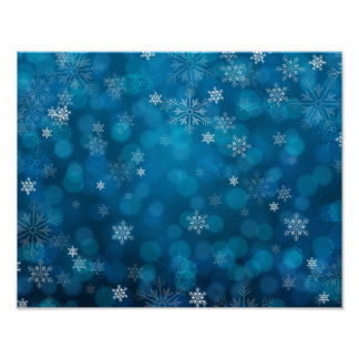 grunge blue snow abstract pattern poster