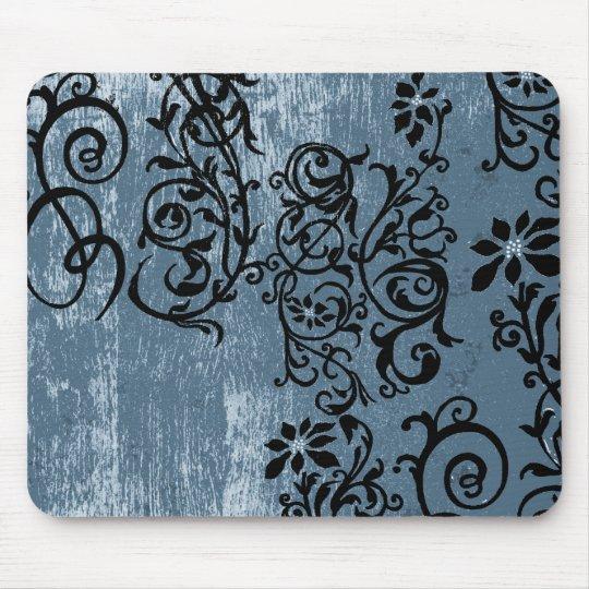 Grunge Blue with Black Vine Mousepad