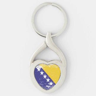 Grunge Bosnia and Herzegovina Flag Key Ring