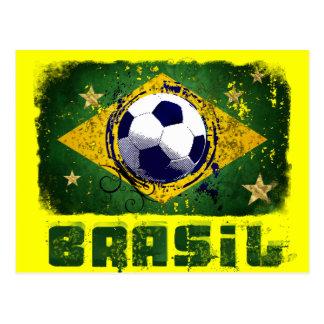 Grunge brazil soccer flag gifts postcard