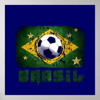 Grunge brazil soccer flag gifts poster