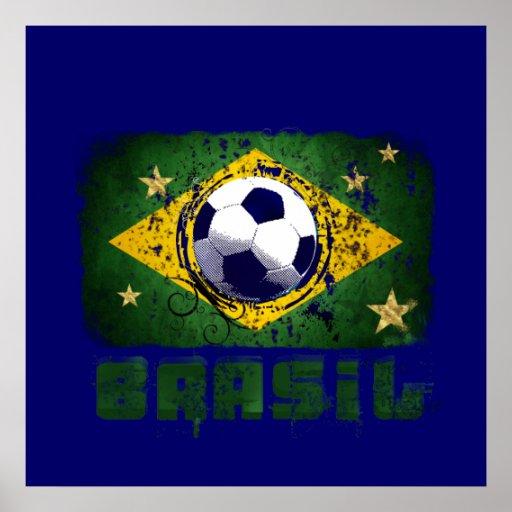 Grunge brazil soccer flag gifts print