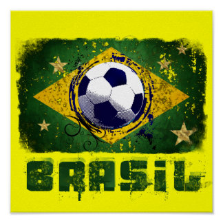 Grunge brazil world cup soccer flag 2014 sports poster