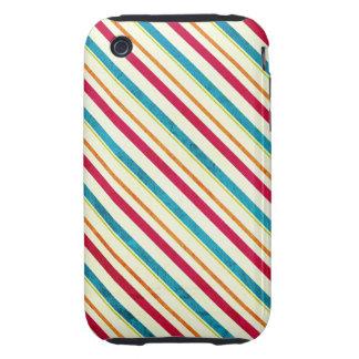 Grunge Bright Stripes Tough iPhone 3 Case