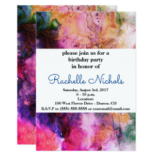 Grunge Bright Watercolor Ink Background Card