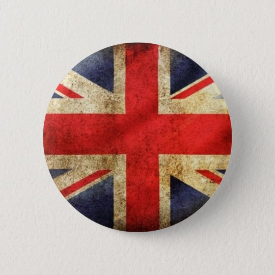 Grunge British Flag Button centred