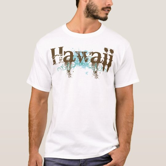 Grunge Brown Blue Hawaii T-shirt
