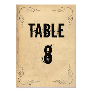Grunge Brown Paper Wedding Table Number Card
