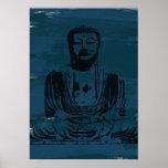 Grunge Buddha Poster - Dark Teal