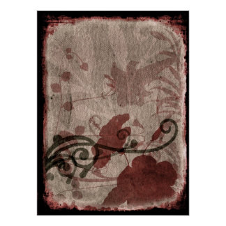 Grunge Burgundy Floral Posters