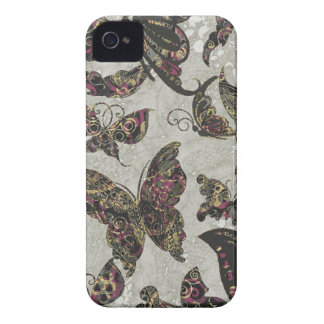 Grunge Butterflies Blk Gray Purple Paisley Floral iPhone 4 Covers
