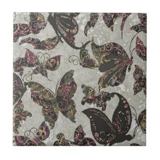 Grunge Butterflies Blk Gray Purple Paisley Floral Tile