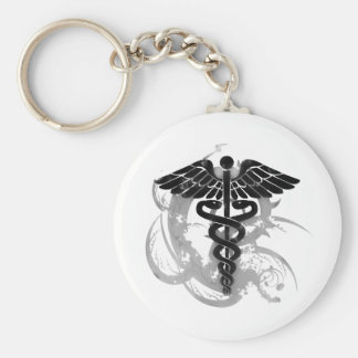 Grunge caduceus key ring
