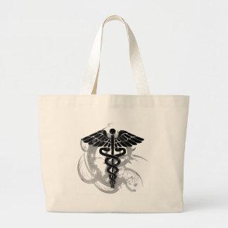 Grunge caduceus large tote bag