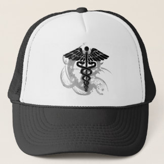 Grunge caduceus trucker hat