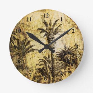 Grunge California Palm Trees Round Wall Clock