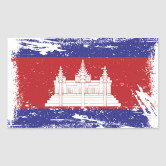Grunge Cambodia Flag Rectangular Sticker