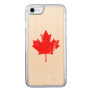 Grunge Canada Flag Maple - Red Distorted Carved iPhone 8/7 Case