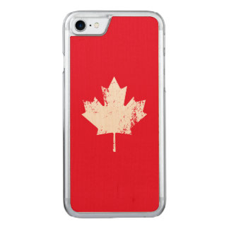 Grunge Canada Flag Maple - White Distorted Carved iPhone 8/7 Case