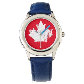 Grunge Canada Flag Maple - White Distorted Watch