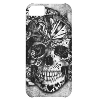 Grunge Candy sugar skull in black and white iPhone 5C Cover