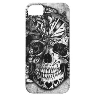 Grunge Candy sugar skull in black and white iPhone 5 Cover