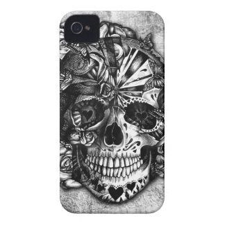 Grunge Candy sugar skull in black and white iPhone 4 Case-Mate Cases