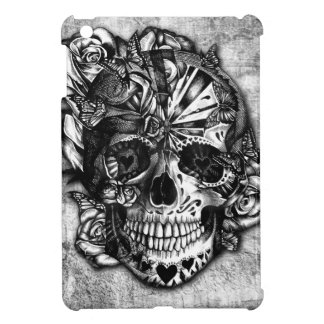 Grunge Candy sugar skull in black and white. Cover For The iPad Mini
