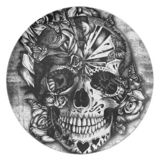 Grunge Candy sugar skull in black and white. Dinner Plate