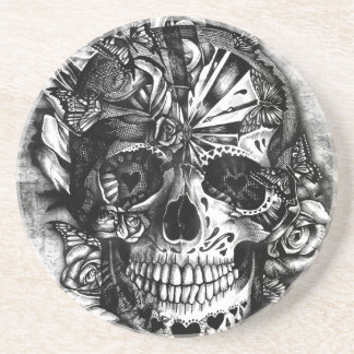 Grunge Candy sugar skull in black and white. Drink Coaster