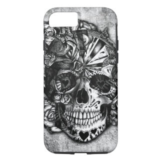 Grunge Candy sugar skull in black and white. iPhone 8/7 Case
