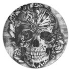 Grunge Candy sugar skull in black and white. Plate