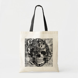 Grunge Candy sugar skull in black and white. Tote Bag