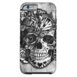 Grunge Candy sugar skull in black and white. Tough iPhone 6 Case