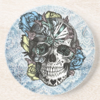 Grunge Candy sugar skull in blue yellow and pink. Beverage Coasters